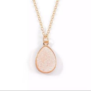 Gold Filled White Druzy Necklace
